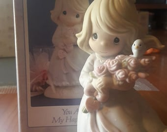 """1991 Precious Moments - Limited Edition - Retired - Collectible Porcelain Figurine - """"You are My Happiness"""""""