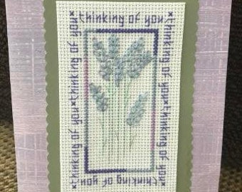 Thinking of You Cross Stitched Card