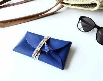 Blue - leather glasses case