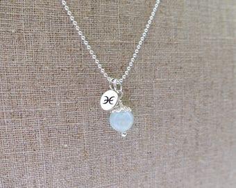 Pisces Necklace, Pisces Zodiac Necklace, Sterling Silver, Pisces Jewelry, Pisces Jewellery, Pisces Charm, Aquamarine, Pisces Zodiac Jewelry
