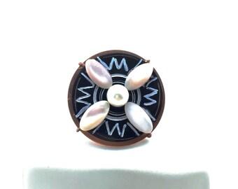Ring Pearl, Shell & Horn Sz 8 Tsalagi Cherokee Made