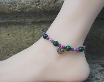Charming green purple gemstone beaded anklets malachite beach boho bohemian wrapped ankle bracelet tibetan romantic ankle jewelry gifts