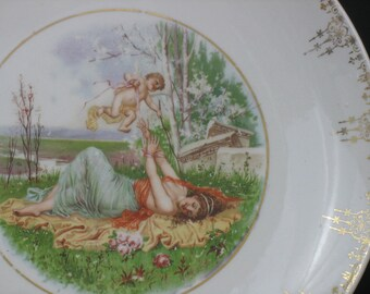 Cupid and Psyche Cabinet Plate Valentines Day Romance