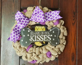 Dog Wreath, Dog, Dogs, Love Dogs, Beware of Dog Kisses, Purple Dog, Dog Lover Wreath