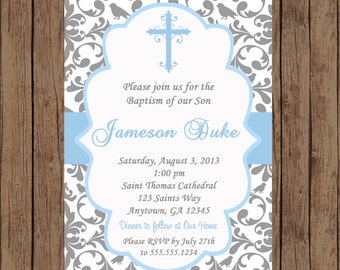 BOY Baptism Invitation / Christening Invitation / Baptism Invitation / Dedication Invitation / Damask Invitation / Baby Dedication/PRINTABLE