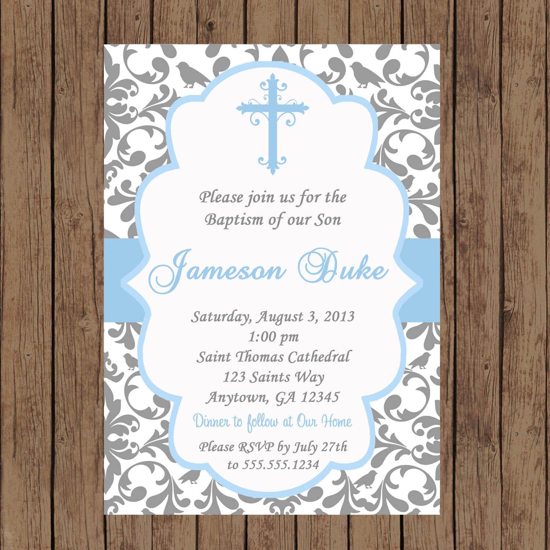 BOY Baptism Invitation / Christening Invitation / Baptism