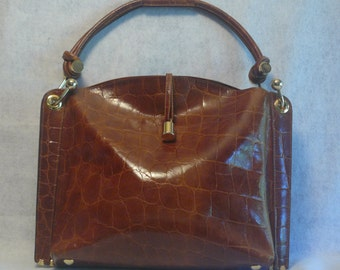 Designer Jad Handmade  Chestnut  Genuine Italian Leather Brass Cabas Chic Shoulder Bag