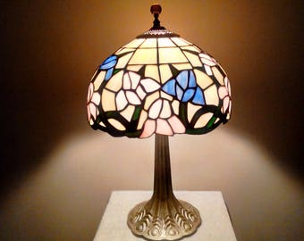 Tiffany-Style Pink & Blue Irises w/Green Leaves on Glowing Golden Glass Stained Glass Shade on Golden Leaf-Embossed Base Lamp