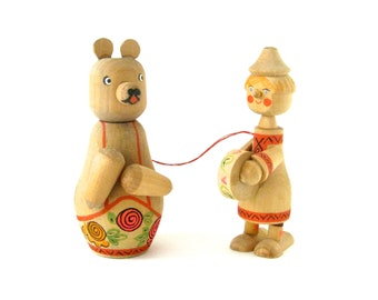 Vintage Wooden Bear & Clown Boy - very sweet and collectable old wooden dolls