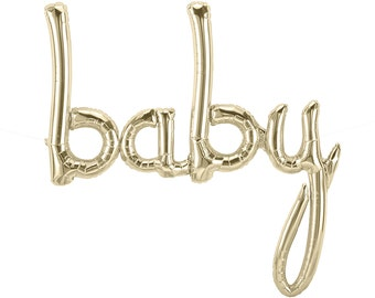 Baby Balloon Banner - White Gold