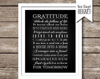 """Gratitude Quote - INSTANT DOWNLOAD -8x10, 11x14, 16x20, 20x24, AND 24x36"""" - Inspirational Quote Grateful Acceptance -  Melody Beattie quote"""