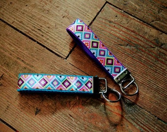 Aztec Tribal Key Fob Wristlet!! Ribbon-Trimmed Key Chain ~ Choose your webbing color! Handmade to Order! ~Equestrian Flair~