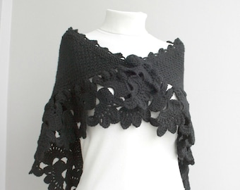 Hand Knitted Black Capelet / Shawl  Christmas Gift / Outdoors Gift / Clothing Gift / Gift for Her / Knit Accessories