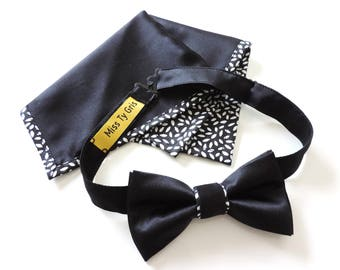 bow tie and silk pouch and cotton