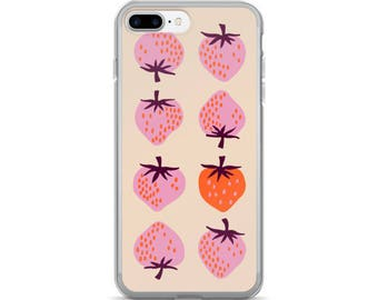 Yours Truly Strawberries in Peach - iPhone 7/7 Plus Case