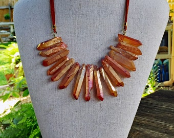 Sun Drenched Orange Quartz Necklace