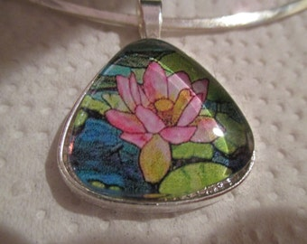 Water Lily Pendant or Scarf Slide, scarf jewelry, scarf ring