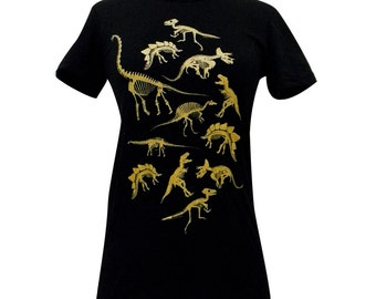 Dinosaur T-Shirt - Dinosaur Fossil Skeleton Bones -Ladies Black T Shirt- (Available in sizes S, M, L, XL)