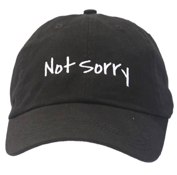Not Sorry (Polo Style Ball Black with White Stitching)