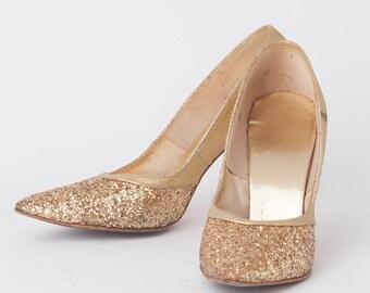 "1960s Vintage Gold Glitter Pumps, Women's Size 6 1/2 M, 3 3/4"" Heel, Charmers, Women's Gold Sparkle Pumps, VIntage High Heels,"