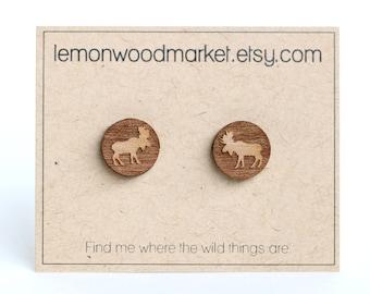 Moose earrings - alder laser cut wood earrings - Hiking earrings - Nature lover earrings - stocking stuffer for her - Alaska