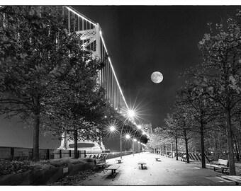 Philadelphia Night Sky // Bridge // Full Moon // Fine Art Photograph // Christmas Gift // Black and White
