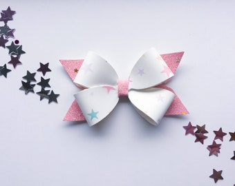 Star Bow, Glitter Bow, Stacked bow, Faux Leather Bow