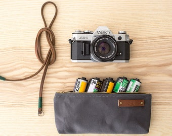 STOCK POUCH | Lightly Waxed Canvas Zipper Case | Optional Personalization | Charcoal Grey