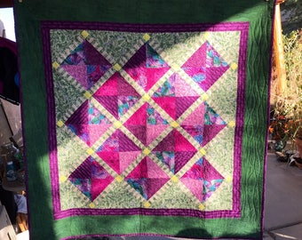 Vintage quilt, baby quilt, wall hanging textile art, baby blanket, baby play mat, quilt art