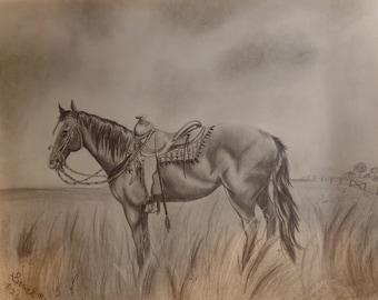 14''x17'' Quarter Horse Graphite Pencil Drawing