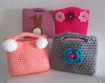 Little girls bag - crochet with pompom,bunny or flowers - various colours