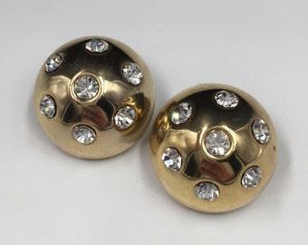 Gold Dome Earrings, Rhinestone Earrings, Crystal Earrings - Vintage 1980s, Vintage Earrings, Retro 80s Earrings, Clip On Earrings