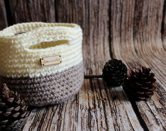 Soft crocheted basket with crocheted handles, basket crem and browngray color with crochet handles