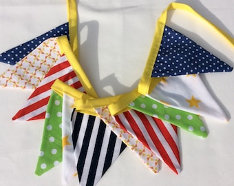 Fabric bunting - 11 flag bright bunting, rainbow plains and stripes