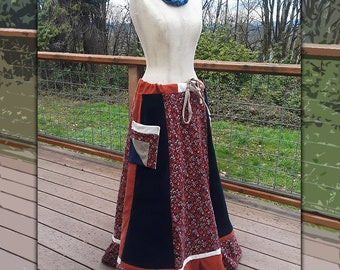 Handmade Hippie ALL Corduroy ~Panel~ Patchwork Skirt ~Size Medium~