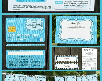 Mall Scavenger Hunt Invitations - Credit Card Invitations - full Printable Package - INSTANT DOWNLOAD with EDITABLE text - you personalize