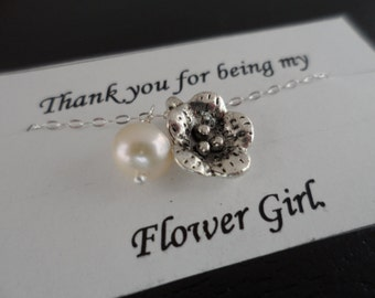 Flower and Pearl Necklace, Sterling Silver, Bridesmaids Gifts, Flower Girl, June Birthstone