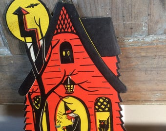 Vintage H.E. Luhrs  Haunted House Halloween Decor 1940's/1950's  Embossed Cardboard Halloween Die Cut