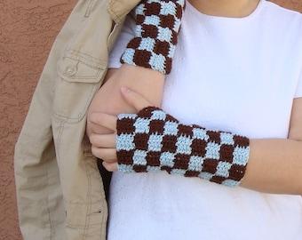 Brown and Light Blue Checkers Fingerless Gloves for Men or Women,Crochet Checkered  Wrist Warmers, Arm Warmers, Fingerless Mittens