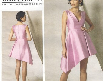 Nicola Finetti Womens Cocktail Dress Asymmetrical Hem Vogue Sewing Pattern V1490 Size 14 16 18 20 22 Bust 36 to 44 UnCut Vogue Designer