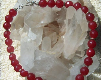 12mm Red Stone Faceted Bead Necklace With Sterling Accents