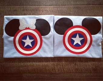 Adult/Youth-Captain America Avengers Mickey/Minnie Shirt