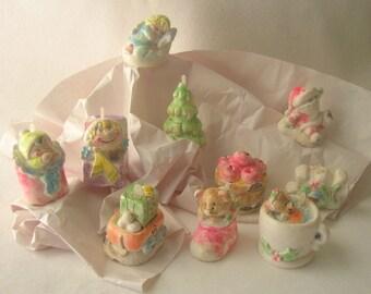 Ten 1980s Vintage Chalkware Christmas Ornaments