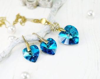 Bermuda blue heart Swarovski crystal earrings necklace set Blue heart pendant necklace Drop crystal bridesmaids earrings gift Something blue