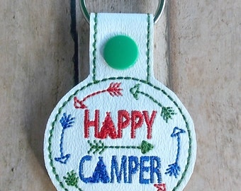 Happy Camper Key Fob, Camping Key Chain, Arrows
