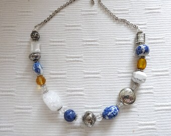 Beaded Statement Necklace, Yellow Blue White Necklace, Statement Necklace