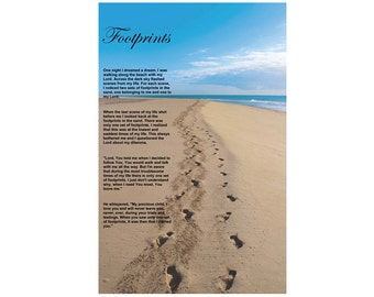 Footprints In The Sand, Downloadable, Poem, Wall Art, Motivational & Inspirational, Poster, Digital File for Download Only.