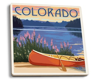 Colorado - Canoe & Lake - Lantern Press Artwork (Set of 4 Ceramic Coasters)