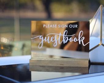 Custom Guestbook Sign / Mirrored Gold Acrylic / plexiglass / gold / wedding / event