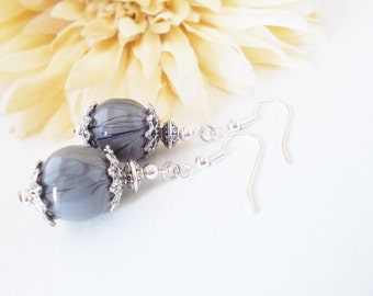 Gray Earrings Sterling Silver, Handmade Gift for Women, Clip On Earrings Beaded Dangle, Bohemian Earrings Nickel Free, Birthday Gift for Mom
